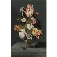 still life with variegated tulips, pink and white roses, a marigold fritillary, columbine and lily of the valley in a globose vase with a toad, all on a ledge by ambrosius bosschaert the younger