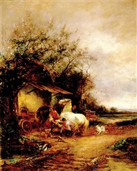 horseshoeing at the forgers by julius von kollmann