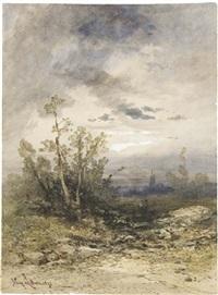 deux personnages dans un paysage au clair de lune, une église à l'arrière-plan by gabriel hippolyte le bas