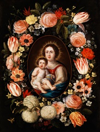 madonna mit dem kind in einem blütenkranz by palamedes palamedesz the elder