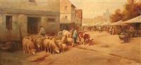flock of sheep going through a village by jules-g. bahieu
