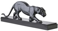 art deco patinated figure of a panther by rochard