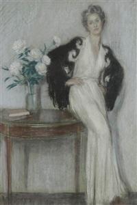 femme appuyée à un guéridon au bouquet by etienne drian