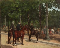 figures on horseback in a park by léon joseph voirin