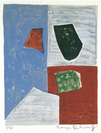 composition rose, rouge et bleue (1958) by serge poliakoff