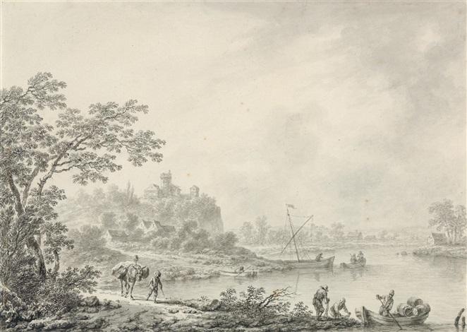 idealisierte landschaft mit booten und gebäuden by christian hilfgott brand