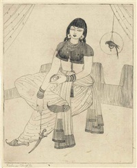 untitled (lady with caged parrot) by abdur rahman chughtai