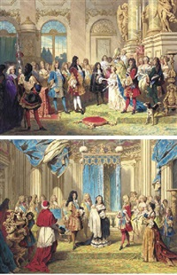 the marriage of the duc de bourgogne to marie-adélaïde of savoy on 7 december 1697, in the presence of king louis xiv (+the presentation, duc de bourgogne, to king louis xiv; 2 works) by franz napoleon heigel
