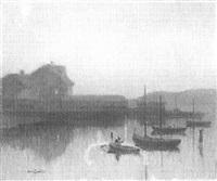 sailboats at dusk by carl olof eric lindin