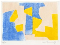 composition in blue, pink and yellow by serge poliakoff