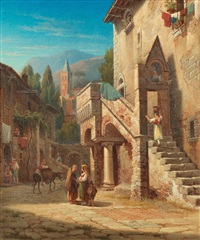 ilalian town with figures by gustaf wilhelm palm