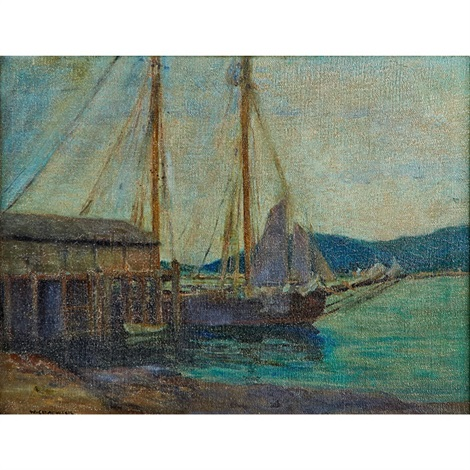 a docked sailboat by william chadwick