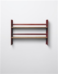 rare 'cité' wall-mounted shelving unit, designed for the student rooms of the cité universitaire, nancy by jean prouvé