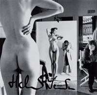 self-portrait with june and models, vogue studio, paris by helmut newton