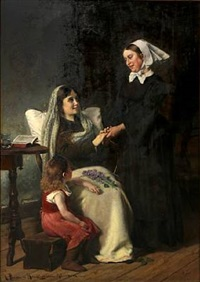 a convalescent. the young mother and her nurse are exchanging goodbyes by christian pram henningsen