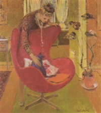 the artist's wife with a cat by hugh adam crawford