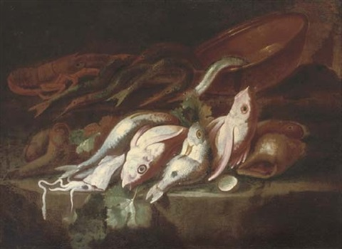 a still life of dead fish with an earthenware pot on a stone ledge a mountainous landscape beyond by elena recco