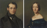 portrait of a gentleman, bust-length, in a black coat and glasses (+ portrait of a lady, bust-length, in a black dress and gold jewelry; pair) by gaston lenthe