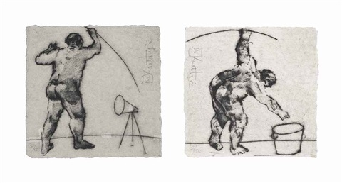 untitled artist standing from the hmv set untitled man bending from the hmv set 2 works by william kentridge