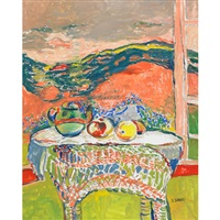 table with teapot and fruit at an open window by judyta sobel