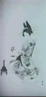 bildnis einer jungen schonheit beim ikebana... by yukawa shodo