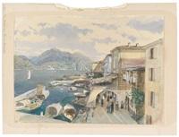 eine straße am see in bellaggio (comersee) by thomas ender