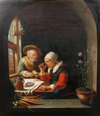two old peasants eating in a kitchen interior, within a painted niche (after frans van mieris the elder) by l. dumini