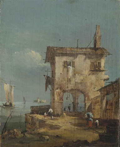 capriccio of a rustic house near a lagoon by francesco guardi