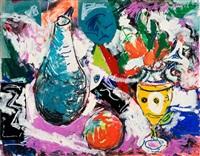 blauer krug, gelbe vase by ernst hassebrauk
