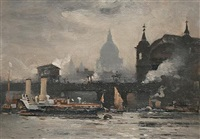a thames paddle steamer passing under the canon street railway bridge (+ 2 others; 3 works) by william a. macdonald