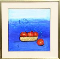 three pomegranates in bowl by nasser ovissi
