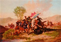 a cavalry skirmish between french and polish soldiers by auguste viande