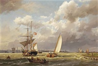 a danish merchant on the ij before amsterdam by hermanus koekkoek the elder