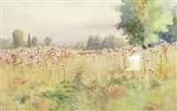 paysage animé au champs by maurice dainville