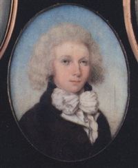 henry maltby, wearing brown coat with large buttons, yellow-bordered white waistcoat and large tied white cravat, his hair powdered by thomas hull