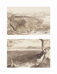 view of amaxichi and the fort, santa maura; view of corfu from the benitza road, near gastouri (pair) by edward lear