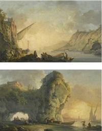 sunrise with fishermen launching a boat; sunset with fishermen unloading boats (pair) by carlo bonavia