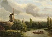 river landscape with figures in a boat by hermanus jan hendrik rijkelijkhuysen