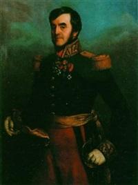général de brigade sous louis philippe, de ¾ en grand uniforme, portant ses décorations by eugène quesnet