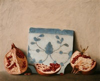 still life with pomegranate and portuguese tile by stuart morle