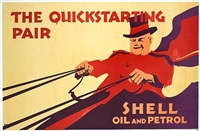 the quickstarting pair: shell oil and petrol (poster) by posters: advertising - shell oil