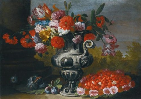 still life with tulips carnations daffodils and other flowers in a metallic urn on a stone ledge with figs plums and a bowl of strawberries below by abraham brueghel