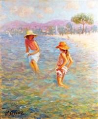 deux filles dans l'eau by claude fossoux
