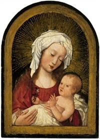 maria mit kind, das ein stiefmütterchen in der hand hält by flemish school-brussels (16)