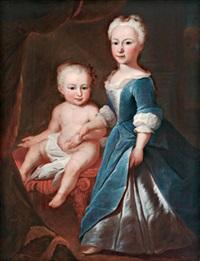 zwei geschwister: anna magdalena keller geb. und ihr schwesterchen susanna geb. 1739 (laut rückseitiger beschriftung auf der originalleinwand) by johannes simmler