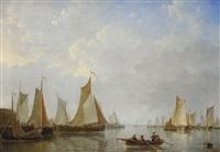 le départ des bateaux de pêche avec barque en avant-plan by frans jacobus van den blyk