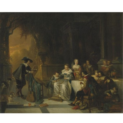 john dryden reading one of his poems before the court by adrien ferdinand de braekeleer