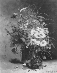 vase de fleurs et bouquet de violettes by gilbert martin