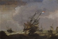 a dutch man-o-war and other ships in stormy seas by jacob gerritz loef