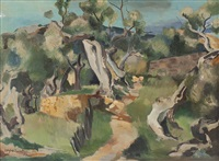 olivenbäume in mediterraner landschaft by wilhelm holzhausen